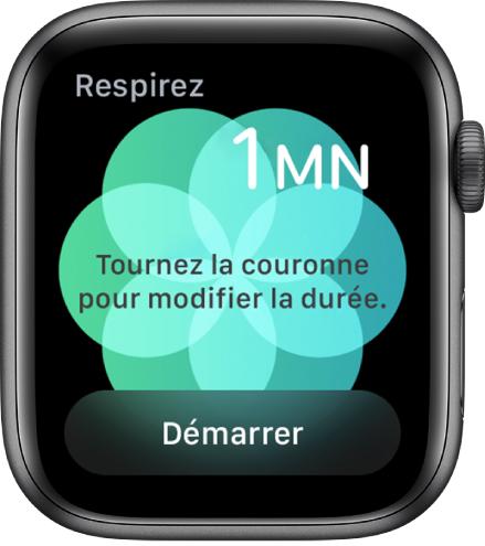 Écran de l'app Respirer montrant une durée d'une minute en haut à droite. Le bouton Démarrer est en bas.