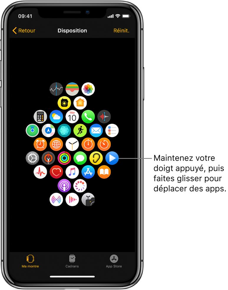 L'écran Disposition de l'app AppleWatch présentant une grille d'icônes. Une légende pointe vers l'icône d'une app et dit: «Maintenez appuyé, puis faites glisser pour déplacer des apps».