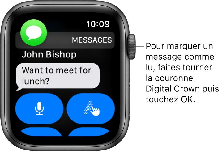 Notification de message, avec l'icône Messages en haut à gauche et le message en dessous.