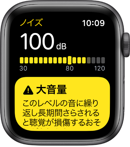 「ノイズ」画面。100dBのデシベルレベルが表示されています。その下に警告が表示されています。