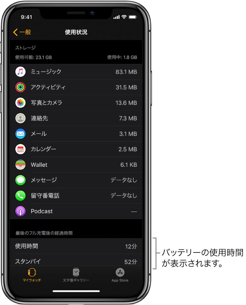 AppleWatch Appの「使用状況」画面では、画面の下半分に、「使用状況」、「スタンバイ」、および「省電力モード」のバッテリー使用時間が表示されます。