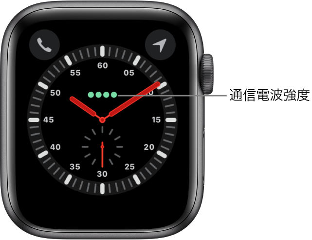 「エクスプローラー」の文字盤はアナログ時計です。文字盤の中央よりも少し上には、モバイル通信の信号強度を示す緑色の4つの点があります。