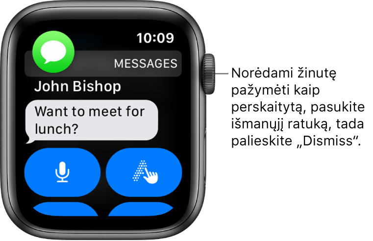 """Žinutės pranešimas, viršuje kairėje pateikta """"Messages"""" piktograma, o po ja – žinutė."""