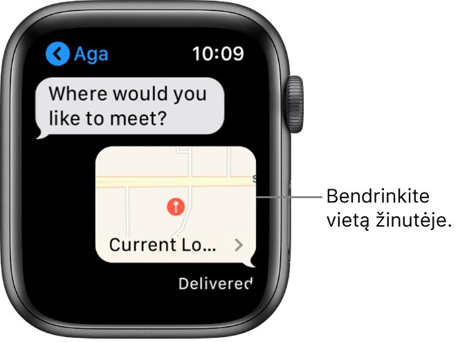 """""""Messages"""" ekranas, kuriame rodomas siuntėjo vietos žemėlapis."""