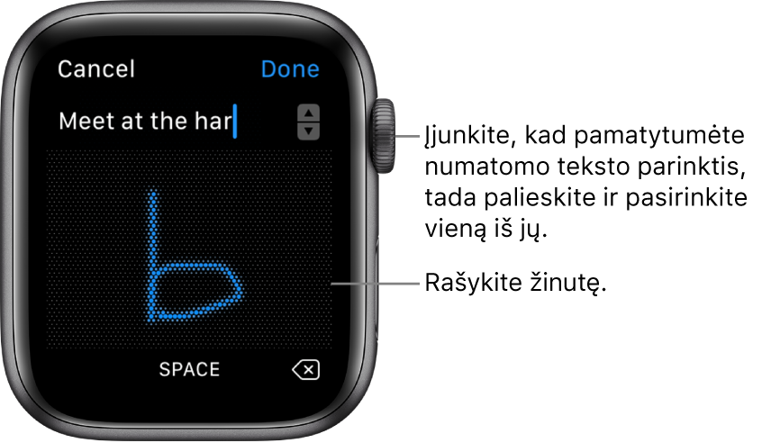 Ekranas, kuriame piešiant rašomas atsakymas į žinutę. Numatomo teksto parinktys rodomos viršuje, o žinutė rašoma centre.