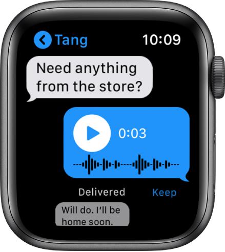 """""""Messages"""" ekranas, kuriame rodomas pokalbis. Viduryje pateiktas atsakymas yra garso žinutė, kurioje pateiktas atkūrimo mygtukas."""