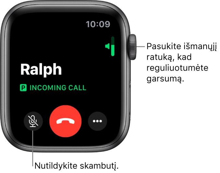 Gaunamojo telefono skambučio metu ekrano viršutiniame dešiniajame kampe rodomas horizontalus garsumo indikatorius, apatiniame kairiajame – nutildymo mygtukas, raudonas atmetimo mygtukas ir papildomų parinkčių mygtukas.