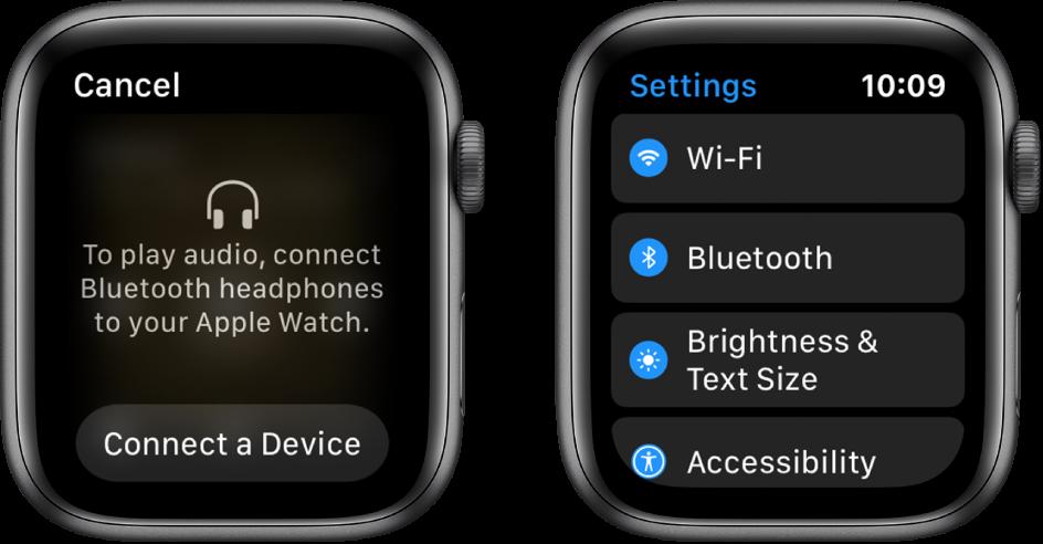 """Jei """"AppleWatch"""" nustatysite kaip garso šaltinį prieš susiedami """"Bluetooth"""" ausines arba garsiakalbius, apatinėje ekrano dalyje bus rodomas mygtukas """"Connect a Device"""", kurį pasirinkus atidaromi """"AppleWatch"""" pateikti """"Bluetooth"""" nustatymai ir galima įtraukti klausymosi įrenginį."""