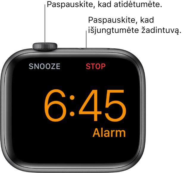 """Ant šono padėtas """"AppleWatch"""", kurio ekrane rodomas aktyvus žadintuvas. Po """"DigitalCrown"""" pateiktas žodis """"Snooze"""". Žodis """"Stop"""" pateiktas po šoniniu mygtuku."""