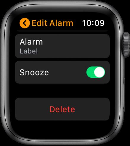 """""""Edit Alarm"""" ekranas, kurio apačioje rodomas mygtukas """"Delete""""."""