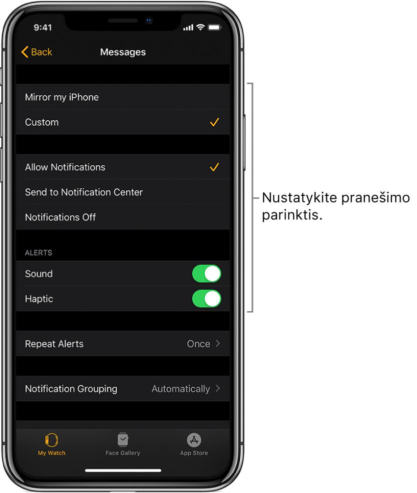 """""""Messages"""" nustatymai """"iPhone"""" programoje """"AppleWatch"""". Galite pasirinkti rodyti įspėjimus, įjungti garsą, įjungti sąlytinius pranešimus ir kartoti įspėjimus."""