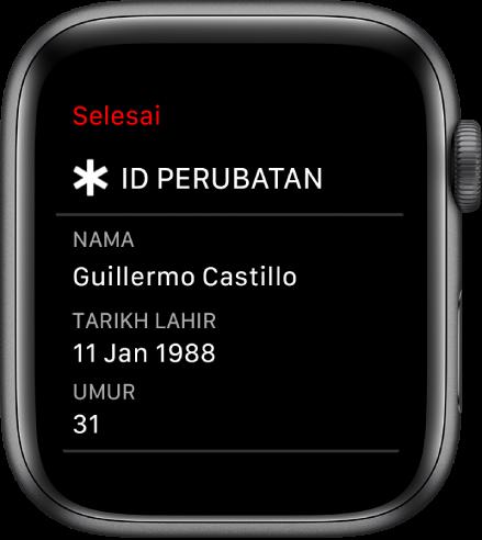 Skrin ID Perubatan menunjukkan nama, tarikh lahir dan umur pengguna.