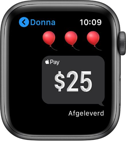 Een Berichten-scherm met een bericht dat een AppleCash-betaling is voltooid.