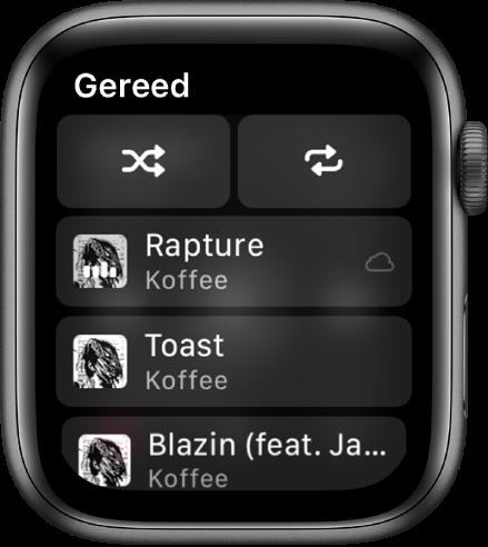 Het tracklijstvenster met bovenin de shuffleknop en de herhaalknop en daaronder drie nummers. Linksbovenin bevindt zich de knop 'Gereed'.
