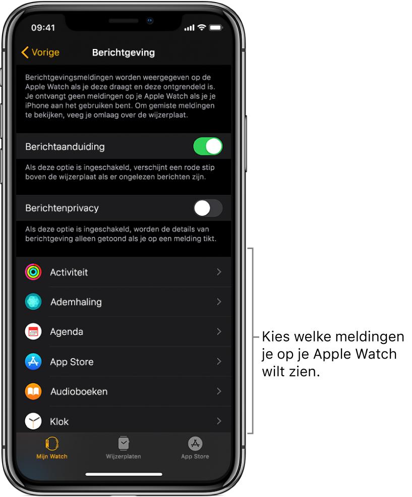 Het Berichtgeving-scherm in de AppleWatch-app op de iPhone, met apps waarvoor meldingen kunnen verschijnen.