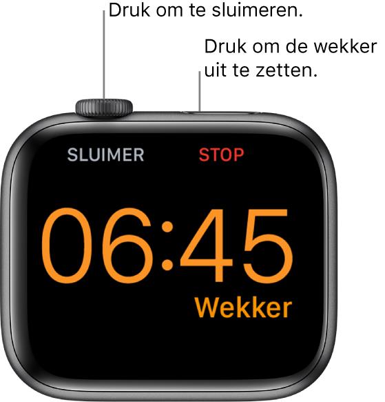 """Een AppleWatch die op zijn kant ligt, met op het scherm een wekker die afgaat. Onder de DigitalCrown staat het woord """"Sluimer"""". Onder de zijknop staat het woord """"Stop""""."""