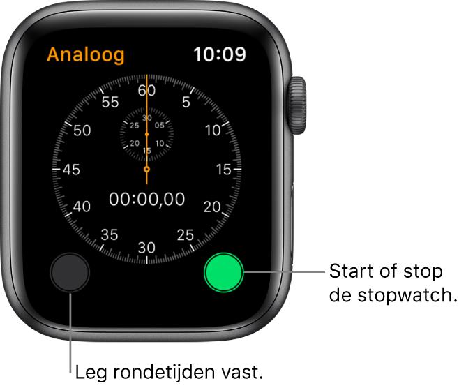 Scherm van de analoge stopwatch. Tik op de rechterknop om te starten of te stoppen en tik op de linkerknop om rondetijden vast te leggen.