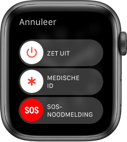 Het scherm van de AppleWatch met drie schuifknoppen: 'Zet uit', 'Medische ID' en 'SOS-noodmelding'. Sleep de schuifknop 'Zet uit' om de AppleWatch uit te schakelen.