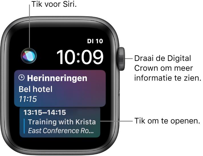 De wijzerplaat Siri met een herinnering en een agenda-activiteit. Linksboven op het scherm bevindt zich een Siri-knop. Rechtsbovenin bevinden zich de datum en de tijd.