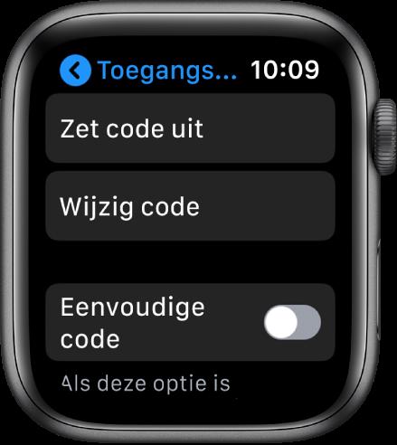 Instellingen voor de toegangscode op de AppleWatch, met bovenin de knop 'Zet code uit', daaronder de knop 'Wijzig code' en onderin de optie 'Eenvoudige code'.