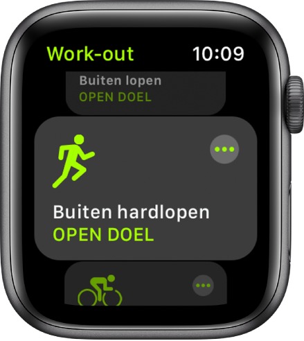 Het Work-out-scherm met de work-out 'Buiten hardlopen' geselecteerd.