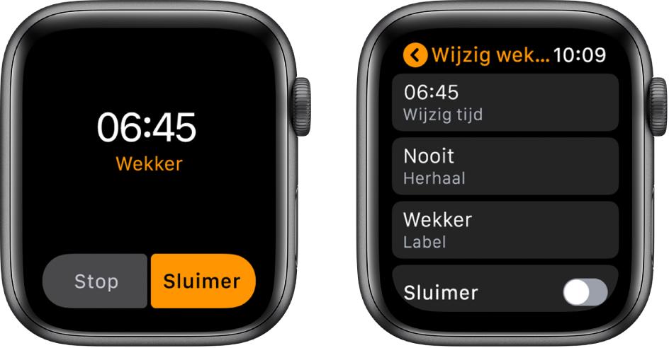 Twee AppleWatch-schermen: Het ene scherm toont een wijzerplaat met een sluimerknop en het andere scherm toont opties om de instellingen van de wekker te wijzigen, met onderin de sluimeroptie.