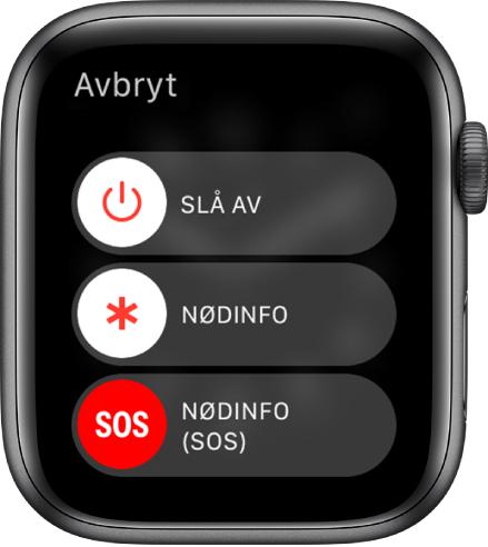 AppleWatch-skjermen med tre skyveknapper: Slå av, Nødinfo og Nødanrop (SOS). Dra Slå av-skyveknappen for å slå av AppleWatch.