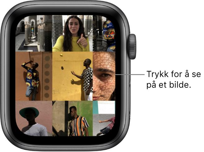 Hovedskjermen i Bilder-appen på AppleWatch, med flere bilder i et rutenett.