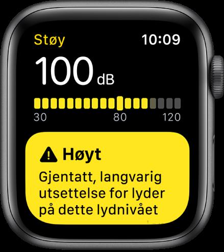 En Støy-skjerm som viser et desibelnivå på 100dB. Det vises en advarsel nedenfor.