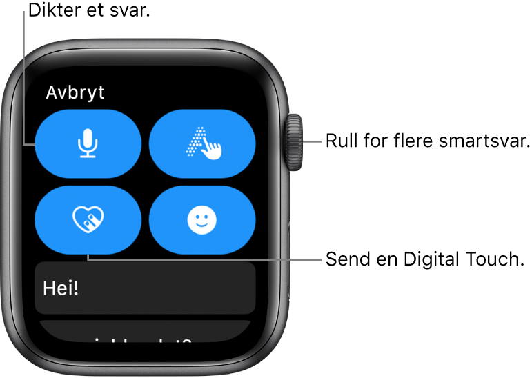 Svarskjermen, Dikter-, Skrible-, Digital Touch- og Emoji-knappene. Smarte svar er nedenfor. Skru på Digital Crown for å se flere smartsvar.