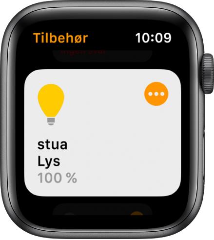 Hjem-appen, som viser tilbehør for belysning. Trykk på symbolet øverst i høyre hjørne i tilbehøret for å justere innstillingene.