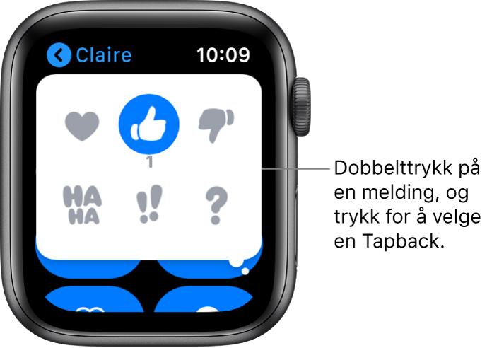 En Meldinger-samtale med Tapback-valg: hjerte, tommel opp, tommel ned, Ha Ha, !! og ?.