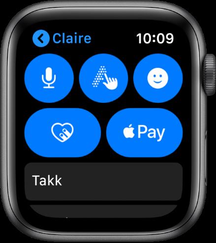 En Meldinger-skjerm som viser en Apple Pay-knapp nede til høyre.