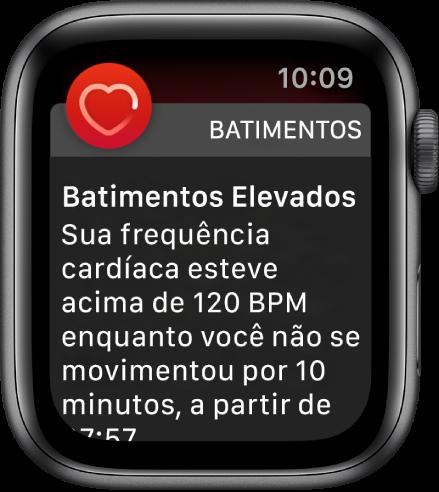 Tela Batimentos Elevados mostrando uma notificação que indica que os batimentos passaram de 120 BPM quando o usuário estava inativo por 10 minutos.