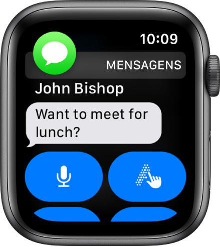 Notificação de mensagem, com o ícone do Mensagens na parte superior esquerda e a mensagem abaixo.