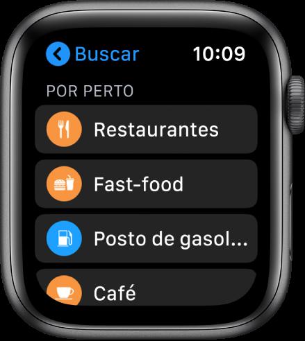 O app Mapas mostrando uma lista de categorias: Restaurantes, Fast-Food, Postos de Combustível, Café e outras.
