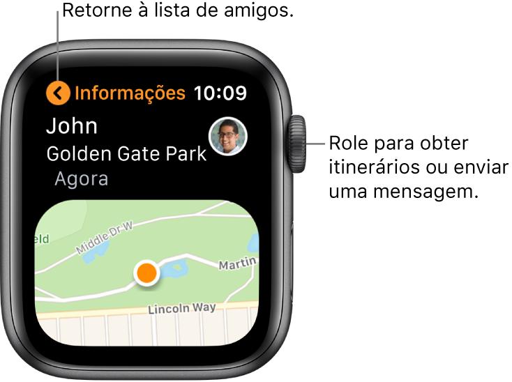 Tela mostrando os detalhes da localização de um amigo, incluindo a distância em que se encontra e sua localização no mapa.