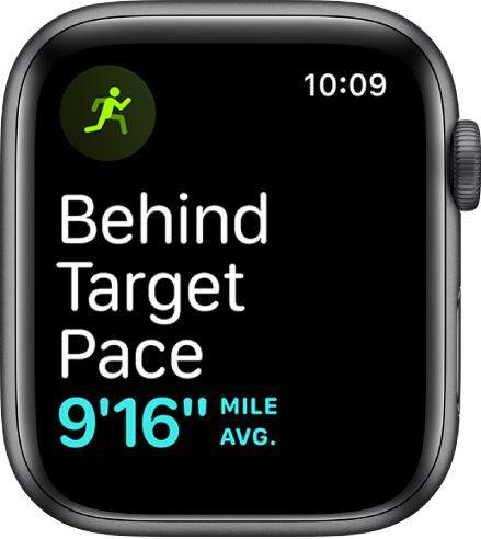 Uma tela de Exercício que mostra que você está correndo abaixo da sua meta de ritmo.
