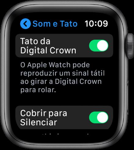 A tela Tato mostrando o botão Crown Haptics ativado.