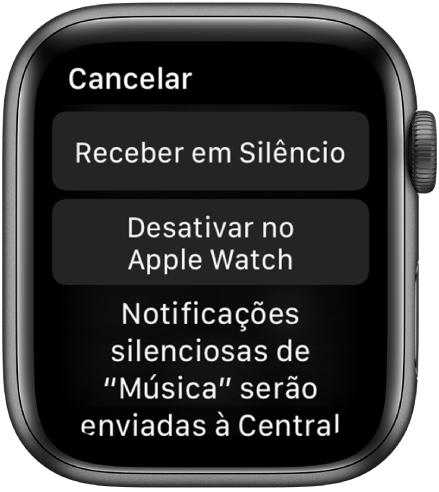 """Ajustes de Notificações no Apple Watch. O botão superior diz """"Entregar em Silêncio"""" e o botão inferior, """"Desativar no AppleWatch""""."""