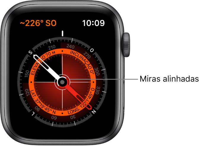 A bússola no mostrador do AppleWatch. Na parte superior esquerda está a direção. O círculo interno mostra a elevação, inclinação, latitude e longitude. Miras brancas aparecem indicando o Norte, Sul, Leste e Oeste.