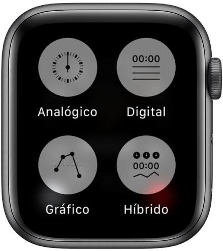 Quando o app Cronômetro estiver aberto e a tela for pressionada, quatro botões que permitem que você defina o formato serão mostrados: Analógico, Digital, Gráfico ou Híbrido.
