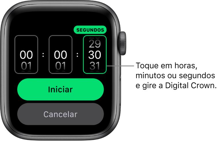 Ajustes para criar um timer personalizado, com a hora à esquerda, os minutos no meio e os segundos à direita. O botão Iniciar encontra-se abaixo.