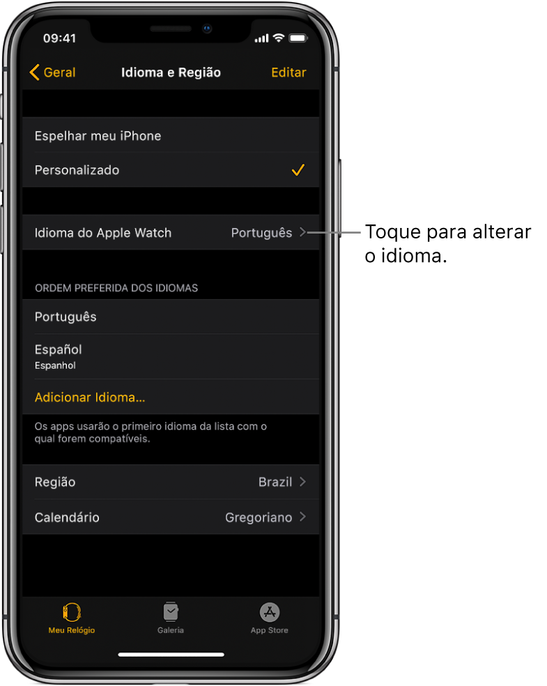 Tela de Idioma e Região no app Apple Watch, com os ajustes de Idioma do Apple Watch próximos à parte superior.