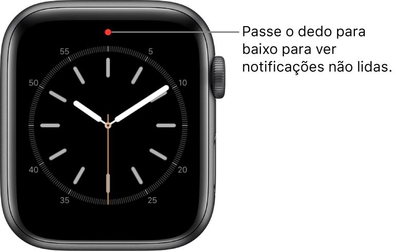 A parte central superior do mostrador exibe um ponto vermelho quando existe uma notificação não lida.