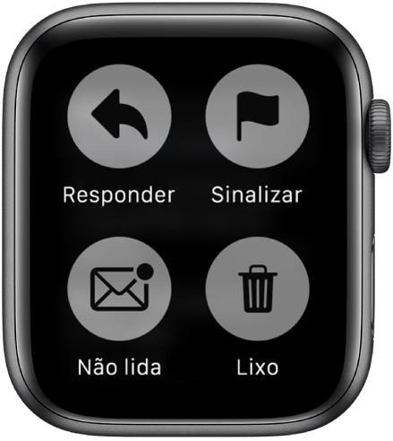 Quando você pressiona a tela enquanto visualiza a mensagem no Apple Watch, quatro botões são exibidos: Responder, Sinalizar, Não Lido e Lixo.