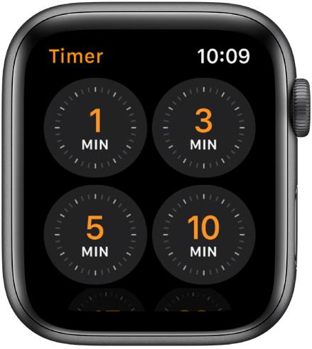 Tela do app Timer mostrando timers rápidos de 1, 3, 5 ou 10 minutos.