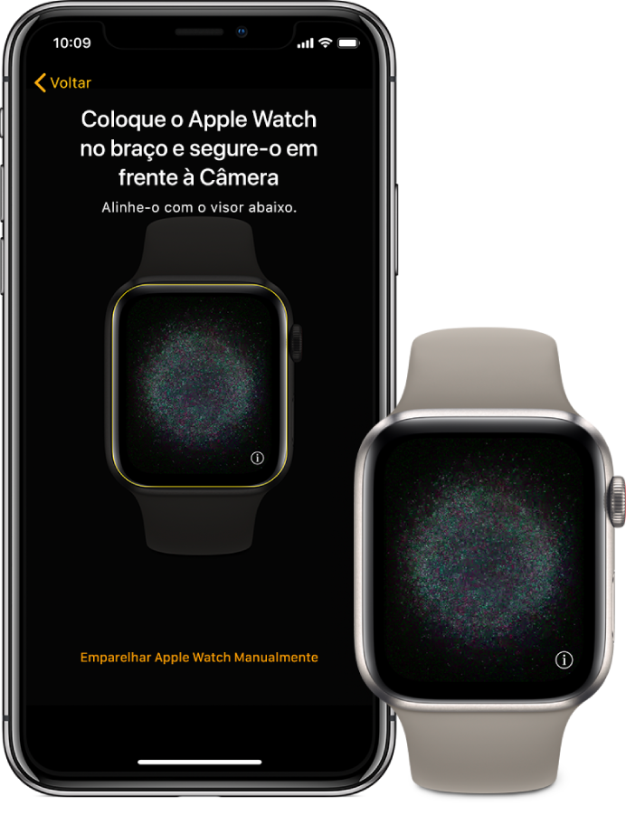 Um iPhone e um Apple Watch mostrando suas telas de emparelhamento.