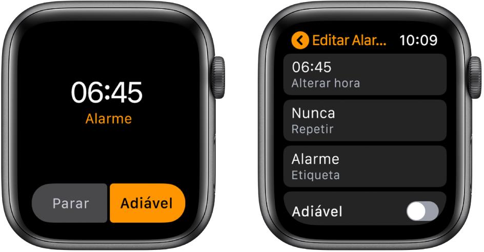 Duas telas do relógio: uma exibe um mostrador com um botão para adiar o alarme e, a outra, os ajustes de Editar Alarme, com o controle Adiar na parte inferior.