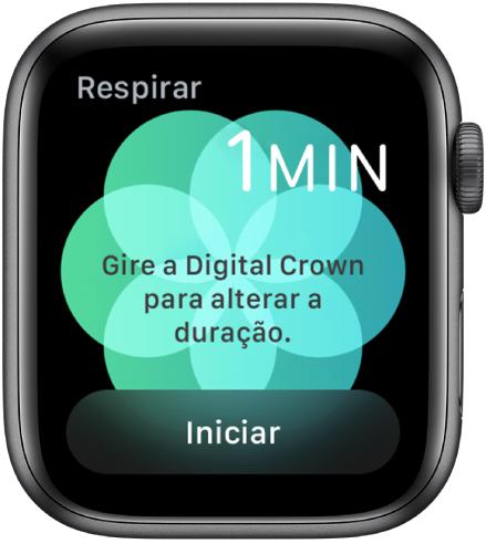 Tela do app Respirar, mostrando a duração de um minuto na parte superior direita e o botão Iniciar na parte inferior.